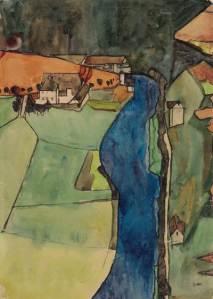 Stadt am blauen Fluss - (Krumau), 1910